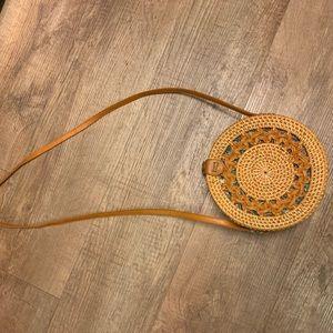 Amerii medium circle rattan bag braided detail